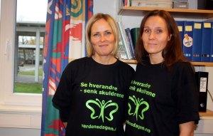 Elisabeth Ness Andersen og Stine Ødegaard er skremt over unges holdninger til rus. De har ingen planer om å slutte med det preventive arbeidet i Porsgrunn. Onsdag var de på Ness Andersens arbeidsplass, Kjølnes ungdomsskole. Foto: Filip Wennerød